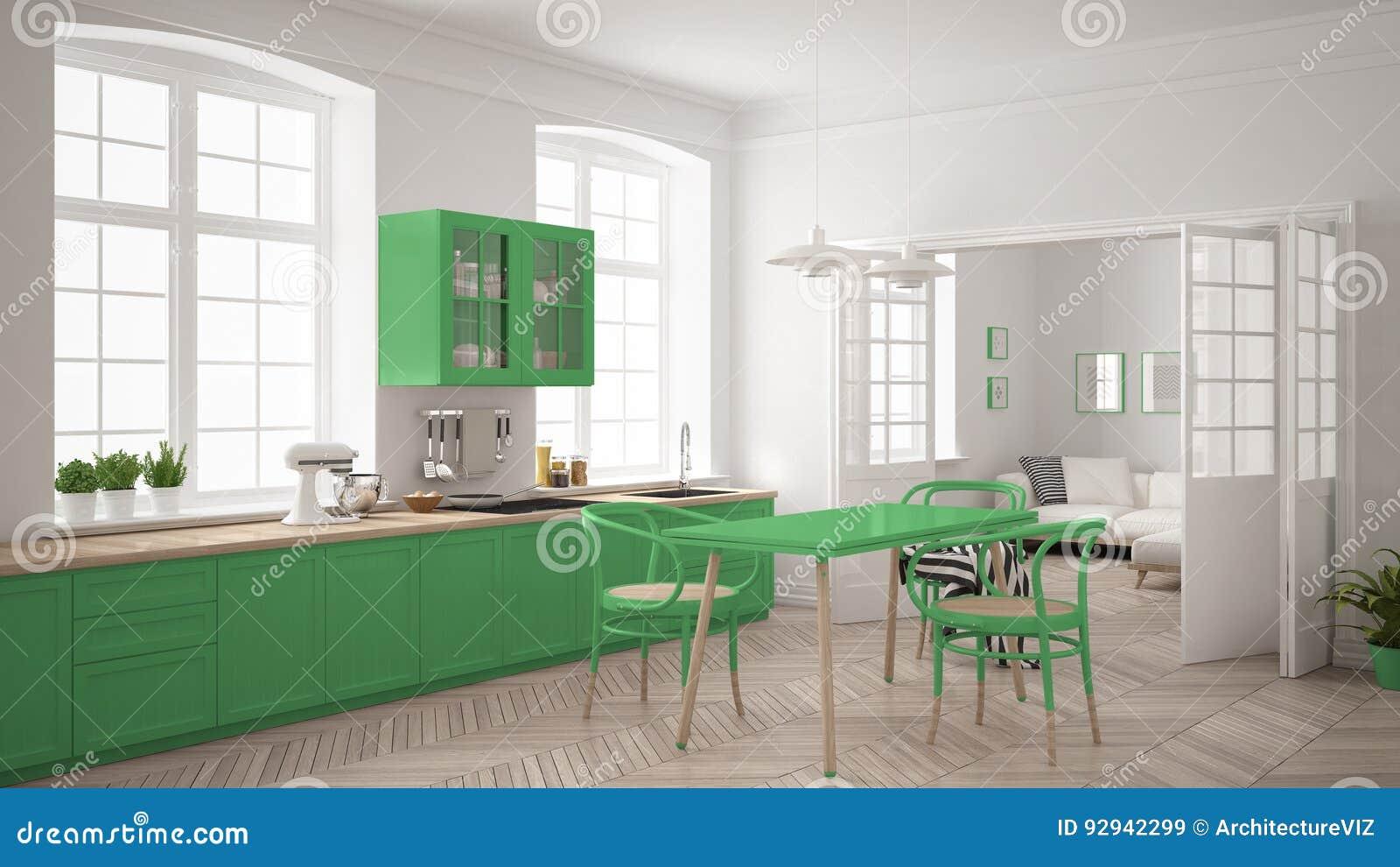 Keuken Interieur Scandinavisch : Minimalistische skandinavische witte keuken met woonkamer in de