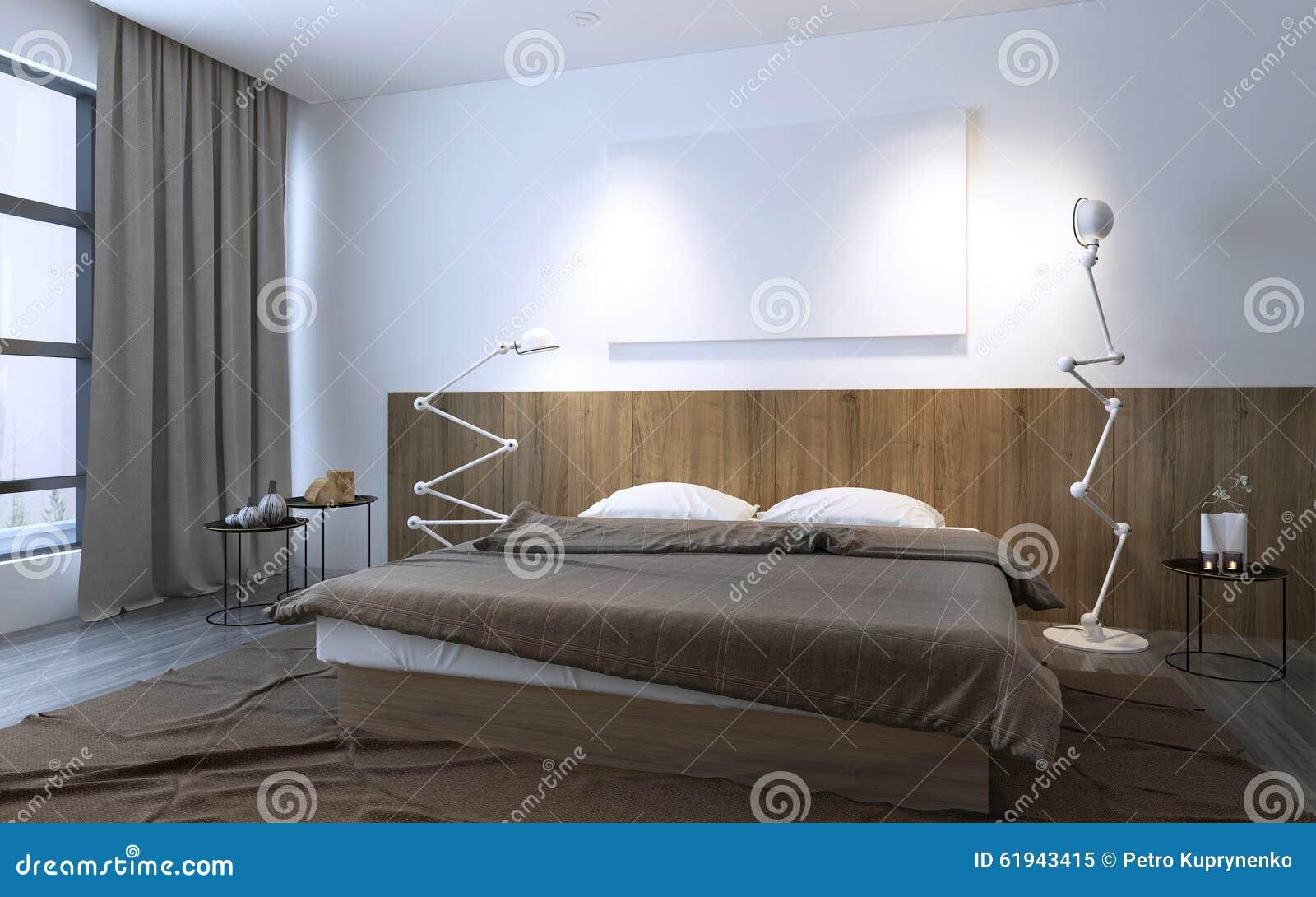Minimalistische slaapkamer in bruine kleur met panelen van de muur de ...