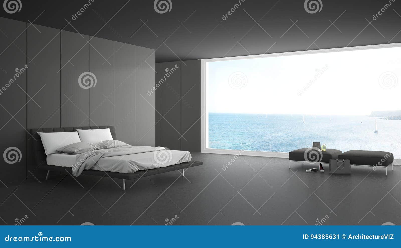 Kleine Minimalistische Slaapkamer : Minimalistische slaapkamer met groot venster op overzees panorama