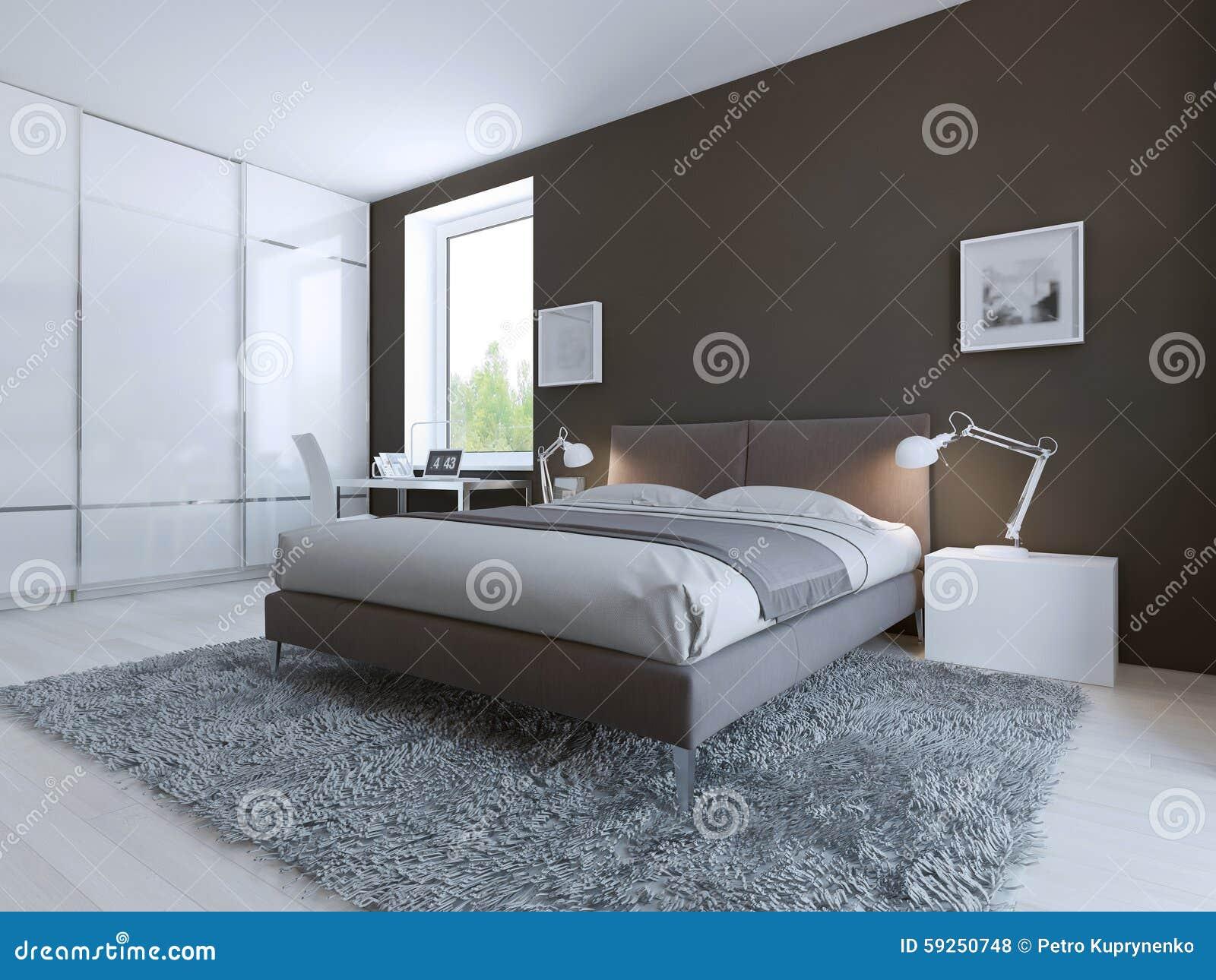 Kleine Minimalistische Slaapkamer : Minimalistische slaapkamer voor goede rust stock illustratie