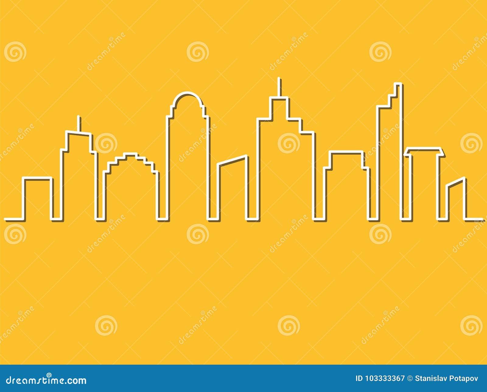 Minimalistische stijl, Stadshorizon Vector illustratie Stedelijk land