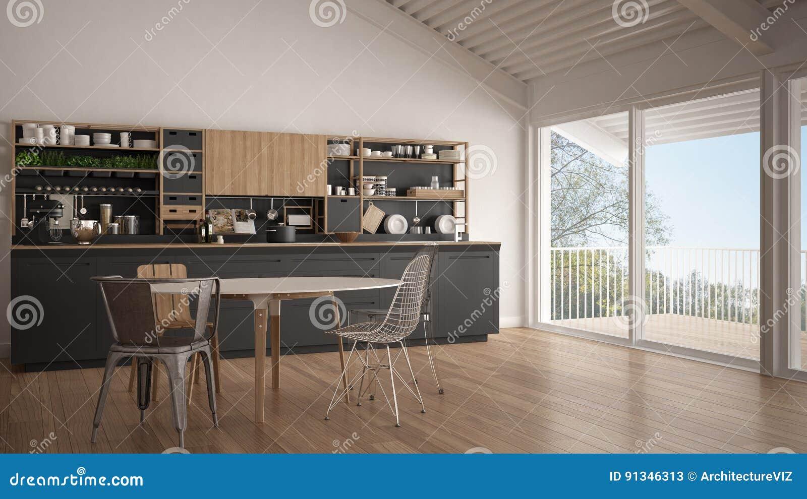 Keuken Interieur Scandinavisch : Minimalistische witte en grijze houten keuken groot panoramisch