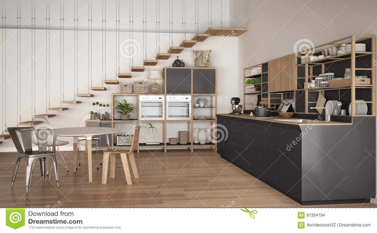Grijze Houten Keuken : Minimalistische witte en grijze houten keuken zolder met treden