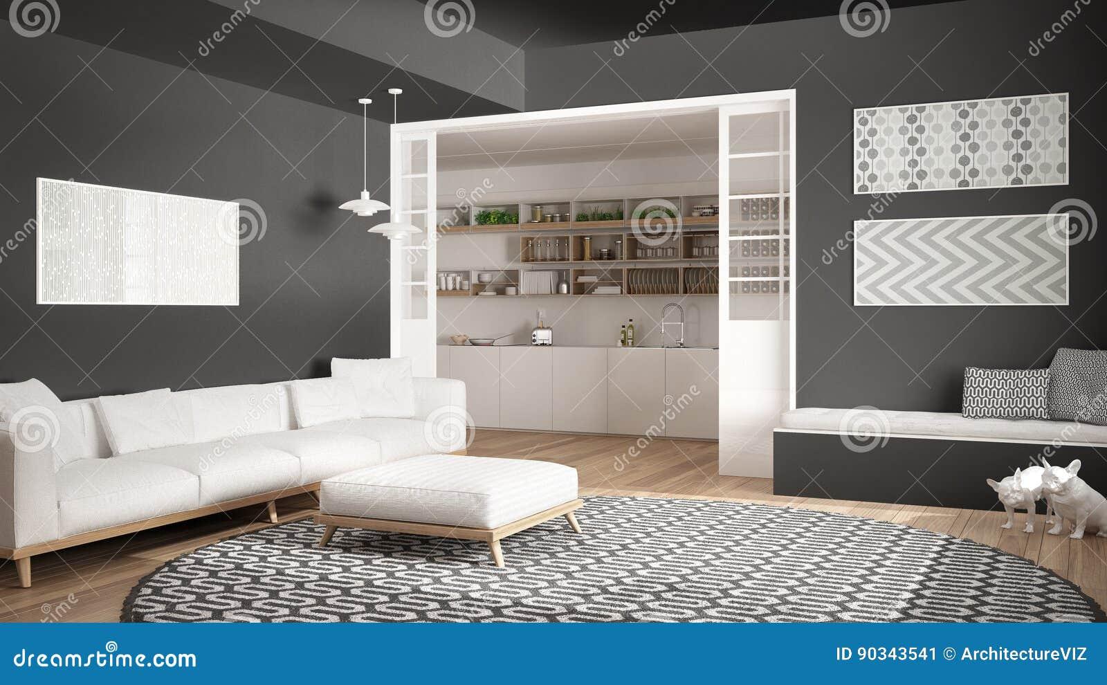 Minimalistische woonkamer met bank grote ronde tapijt en keuken i