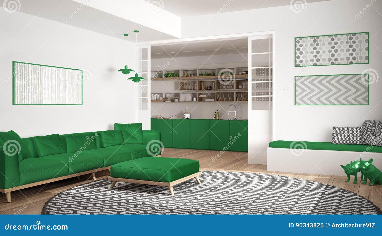 Tapijt Voor Keuken : Minimalistische woonkamer met bank grote ronde tapijt en keuken i