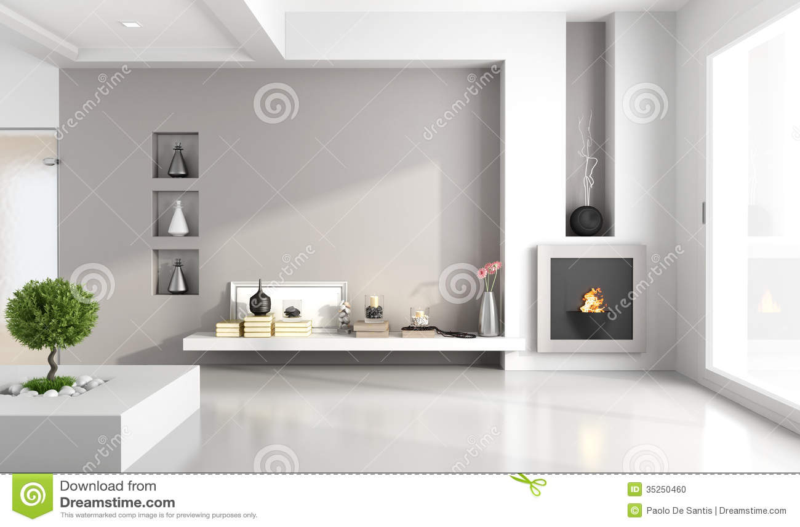 Minimalistische Woonkamer Met Open Haard Stock Foto   Beeld  35250460