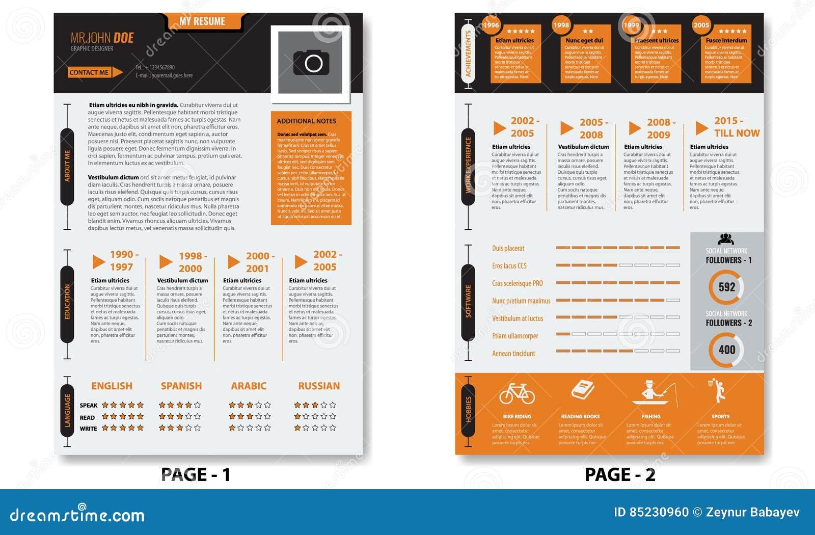 download minimalistlebenslauf zusammenfassungsschablone des vektors kreative mit zwei seiten vektor abbildung illustration von info - Lebenslauf Zwei Seiten