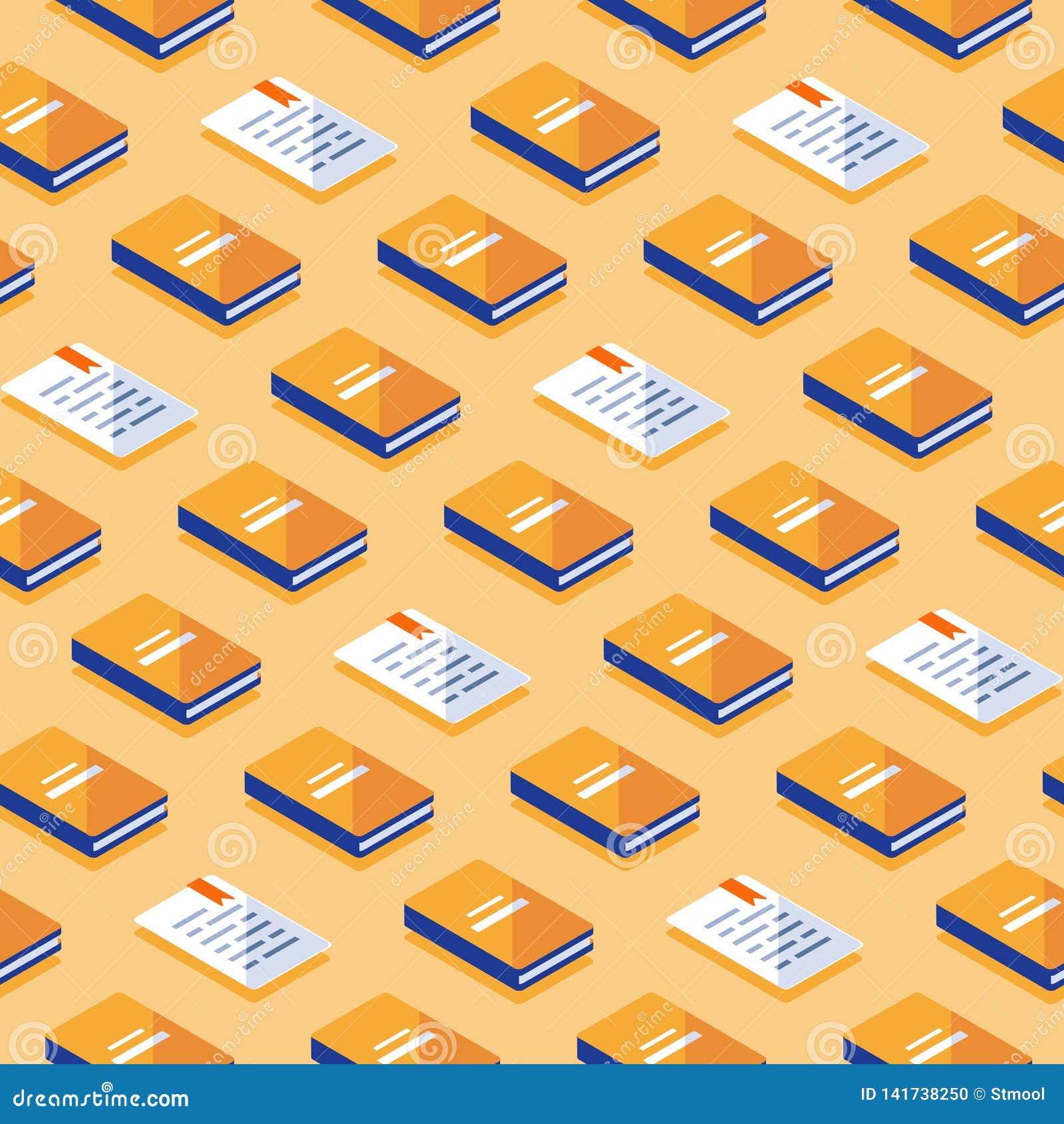 Minimalisty wzór, kreatywnie tło z isometric książkami, literatura i poezja,