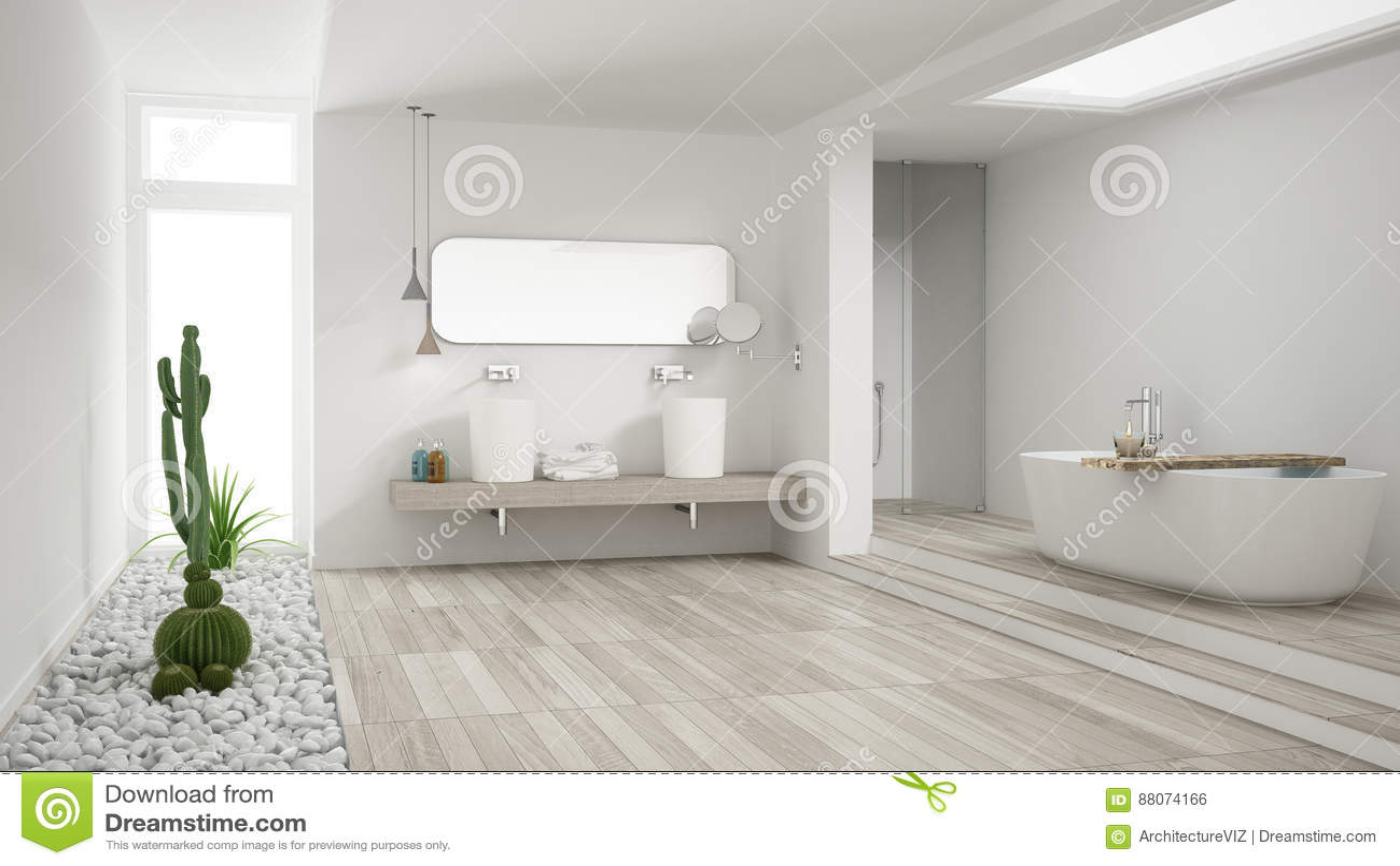 Minimalistyczna Biała łazienka Z Sukulentu Ogródem