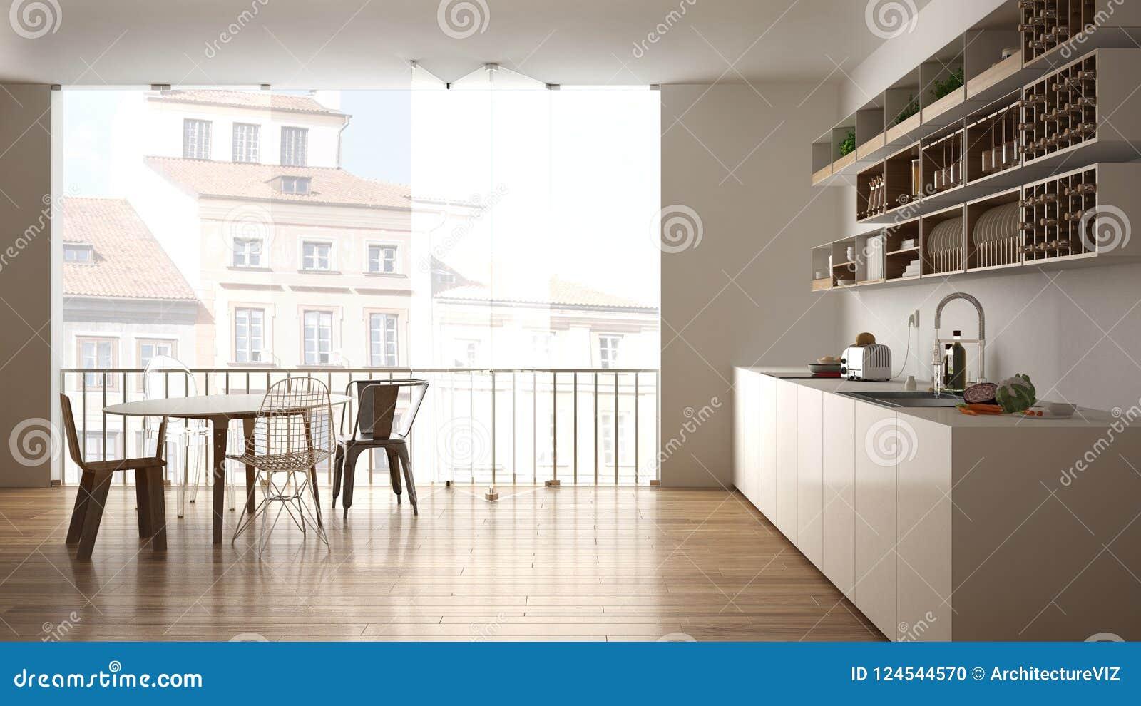Minimalistyczna Biała Drewniana Kuchnia Z łomotać