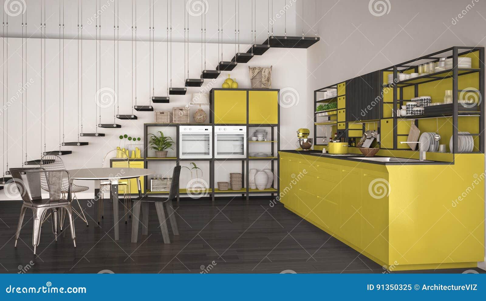 Minimalistyczna Biala I Zolta Drewniana Kuchnia Loft Z Schodkami