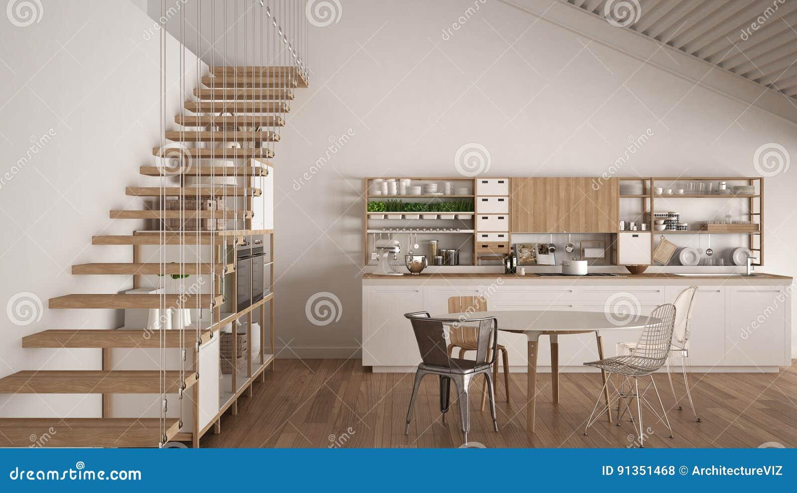 Minimalistyczna Biala Drewniana Kuchnia Loft Z Schodkami Klasyczny