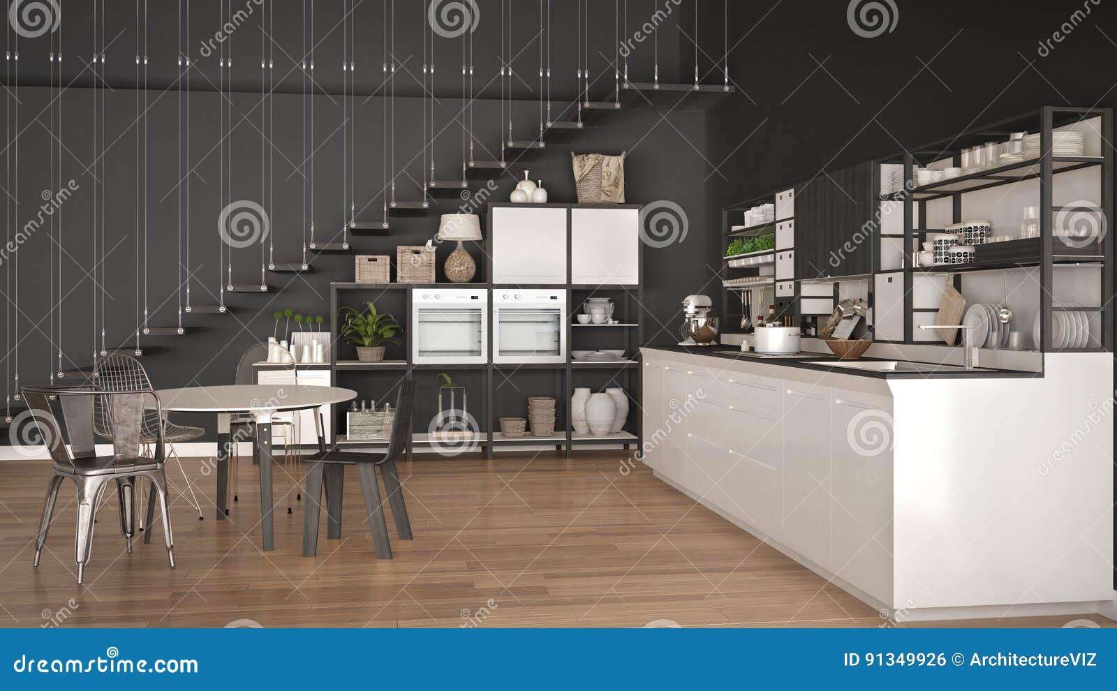 Minimalistyczna Biala I Szara Drewniana Kuchnia Loft Z Schodkami