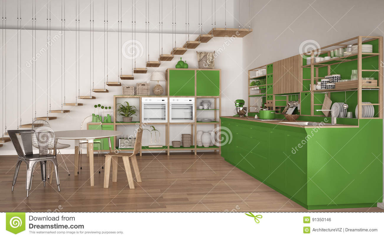 Minimalistyczna Biala I Zielona Drewniana Kuchnia Loft Z Schodkami