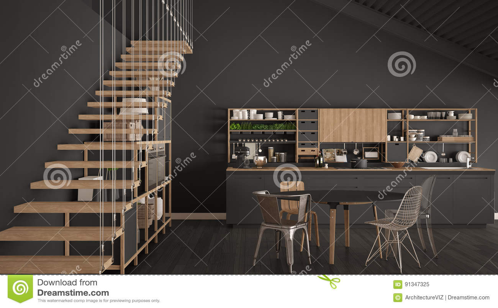 Minimalistyczna Szara Drewniana Kuchnia Loft Z Schodkami
