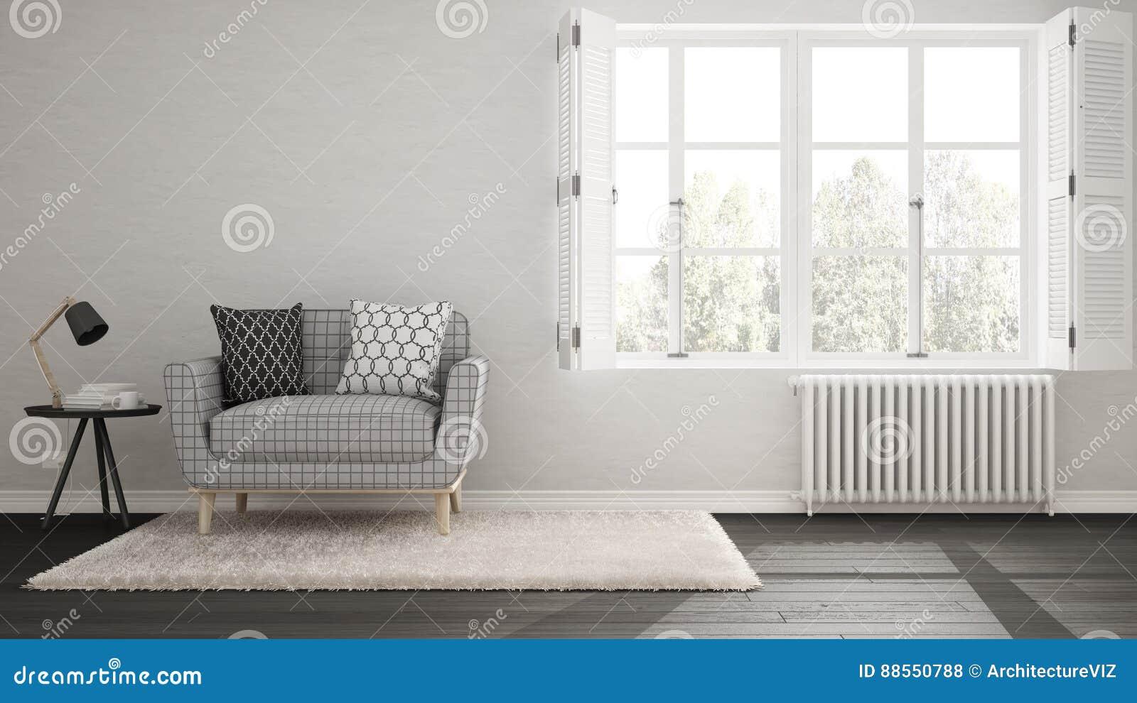 Minimalistyczny żywy pokój, prosty utrzymanie z dużymi wi, biały i szary