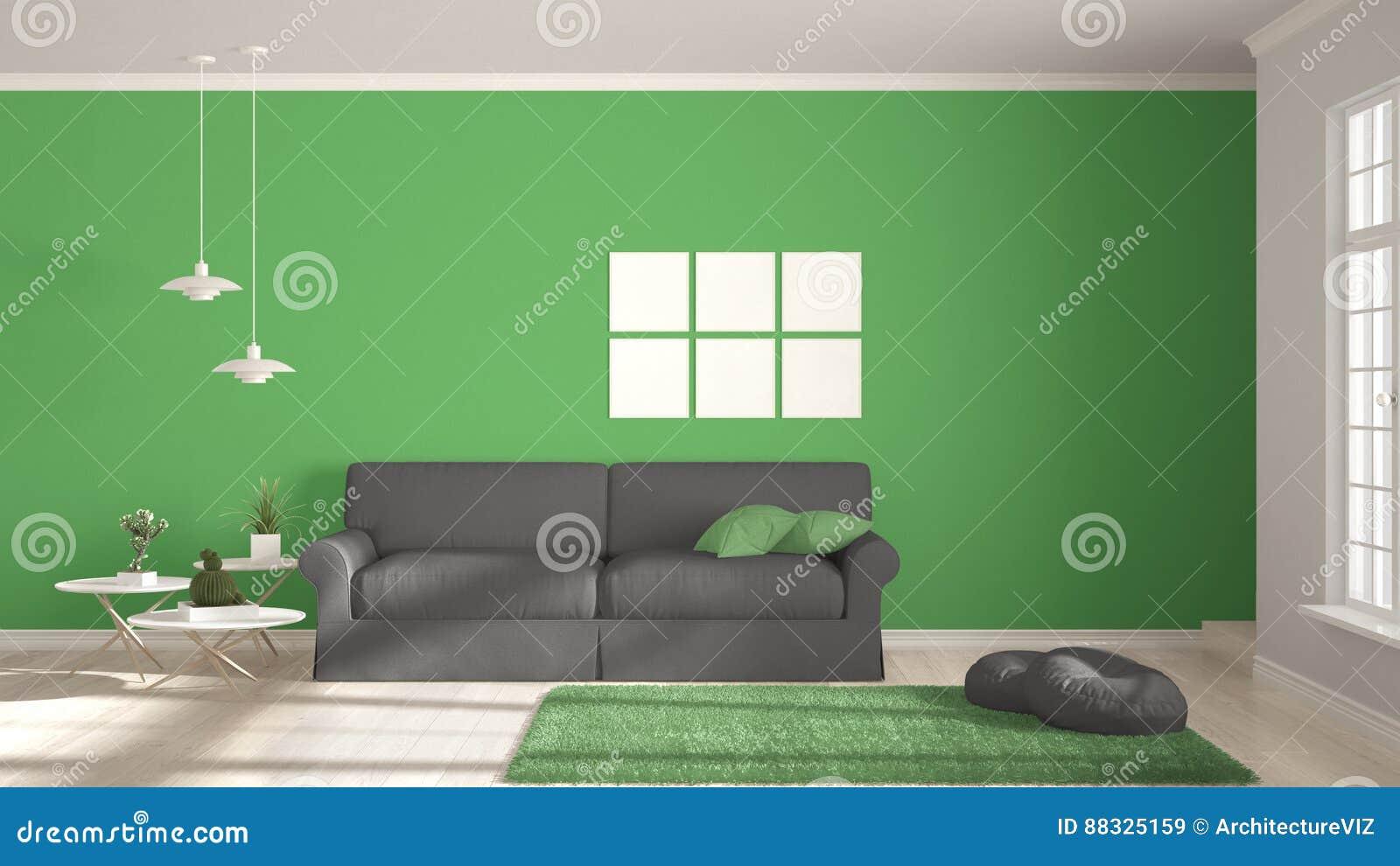 Minimalistyczny pokój, utrzymanie z dużymi wi, prosty bielu, szarość i zieleni,