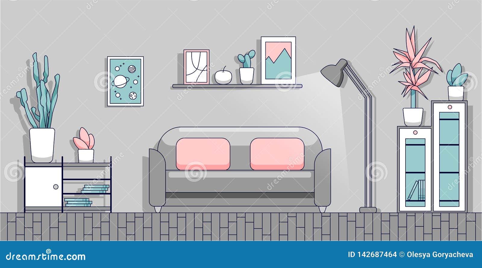 Minimalistyczny wnętrze żywy pokój w nowożytnym mieszkanie stylu