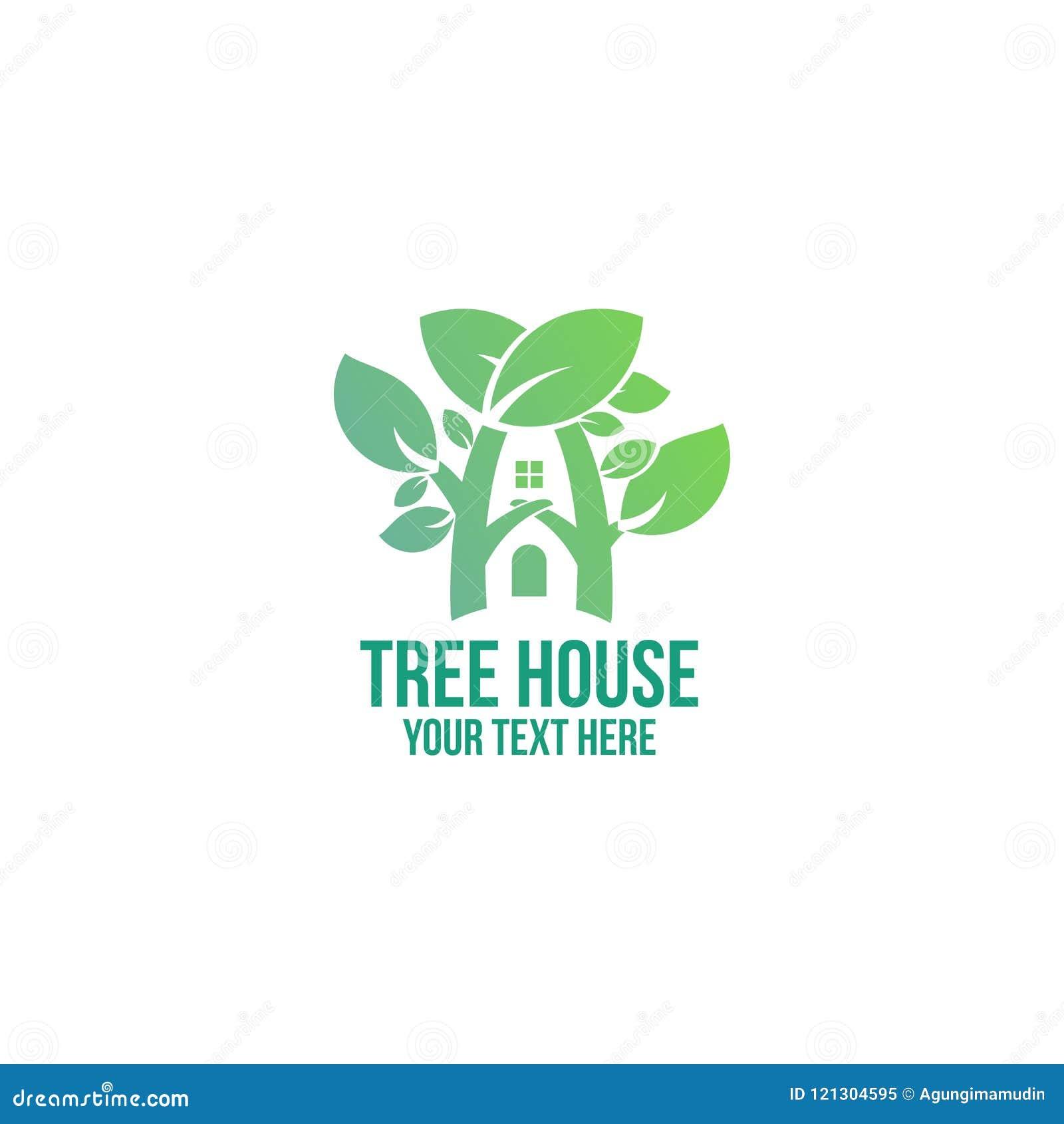 Minimalna drzewnego domu loga firma i biznes