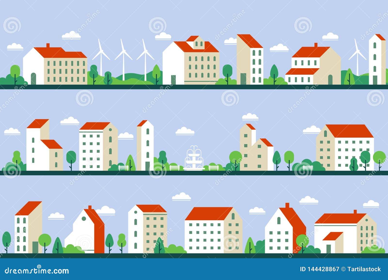 Minimalna miasto panorama Domów miejskich budynki, townscape i pejzaż miejski buduje geometryczną stylową płaską wektorową ilustr