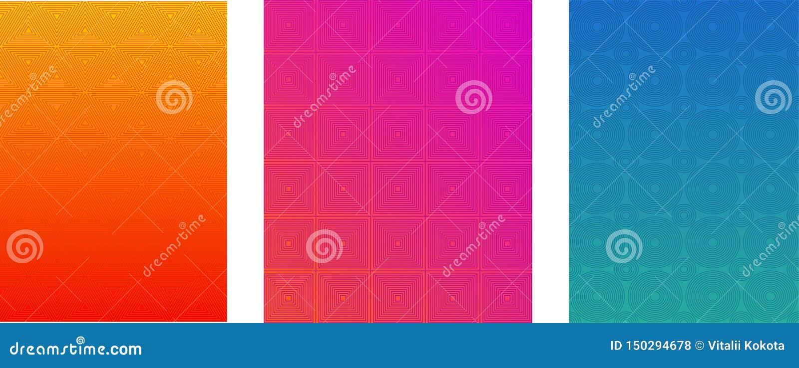 Minimalni pokrywy lub broszurki Wektorowi szablony Ustawiający Halftone Gradientowy Jaskrawy tło Ulotka, ulotka, sztandar, sieć p