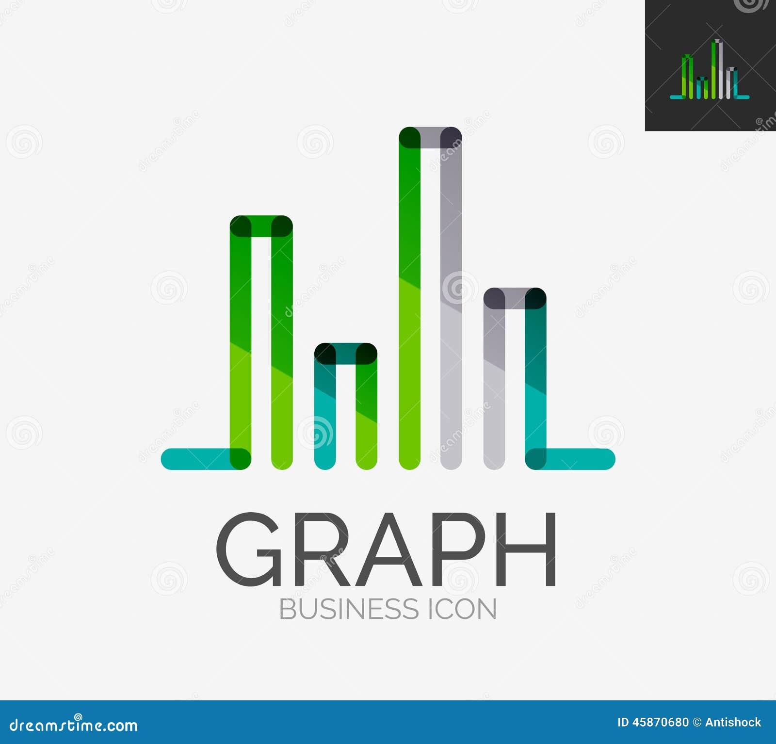 Minimalny kreskowy projekta logo, mapa, wykres ikona