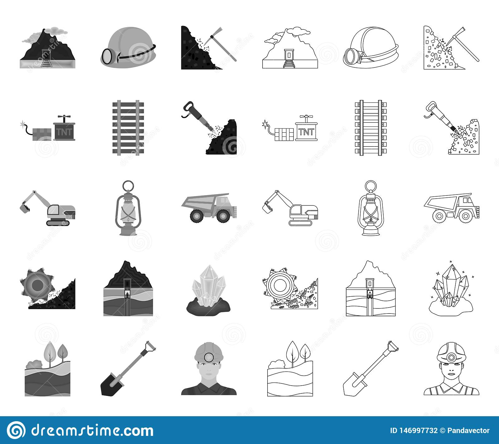 Mining industry mono,outline icons in set collection for design. Equipment and tools vector symbol stock web