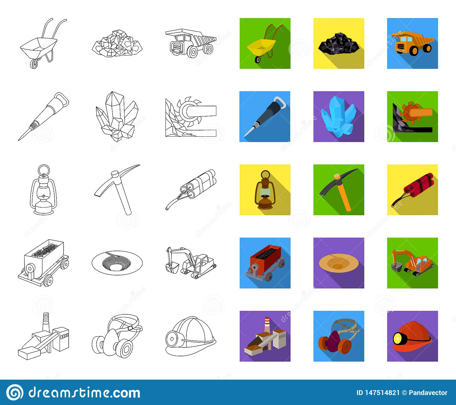 Mining industry outline,flat icons in set collection for design. Equipment and tools vector symbol stock web