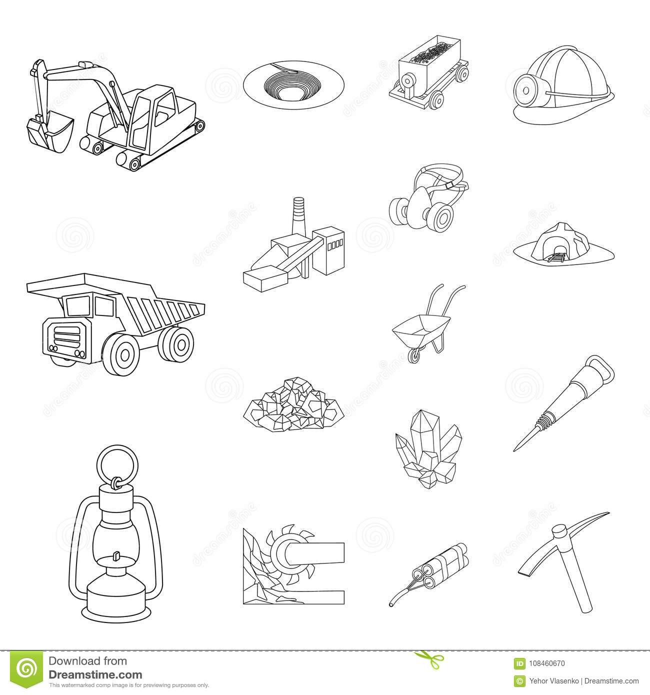 Mining Industry Outline Icons In Set Collection For Design ...