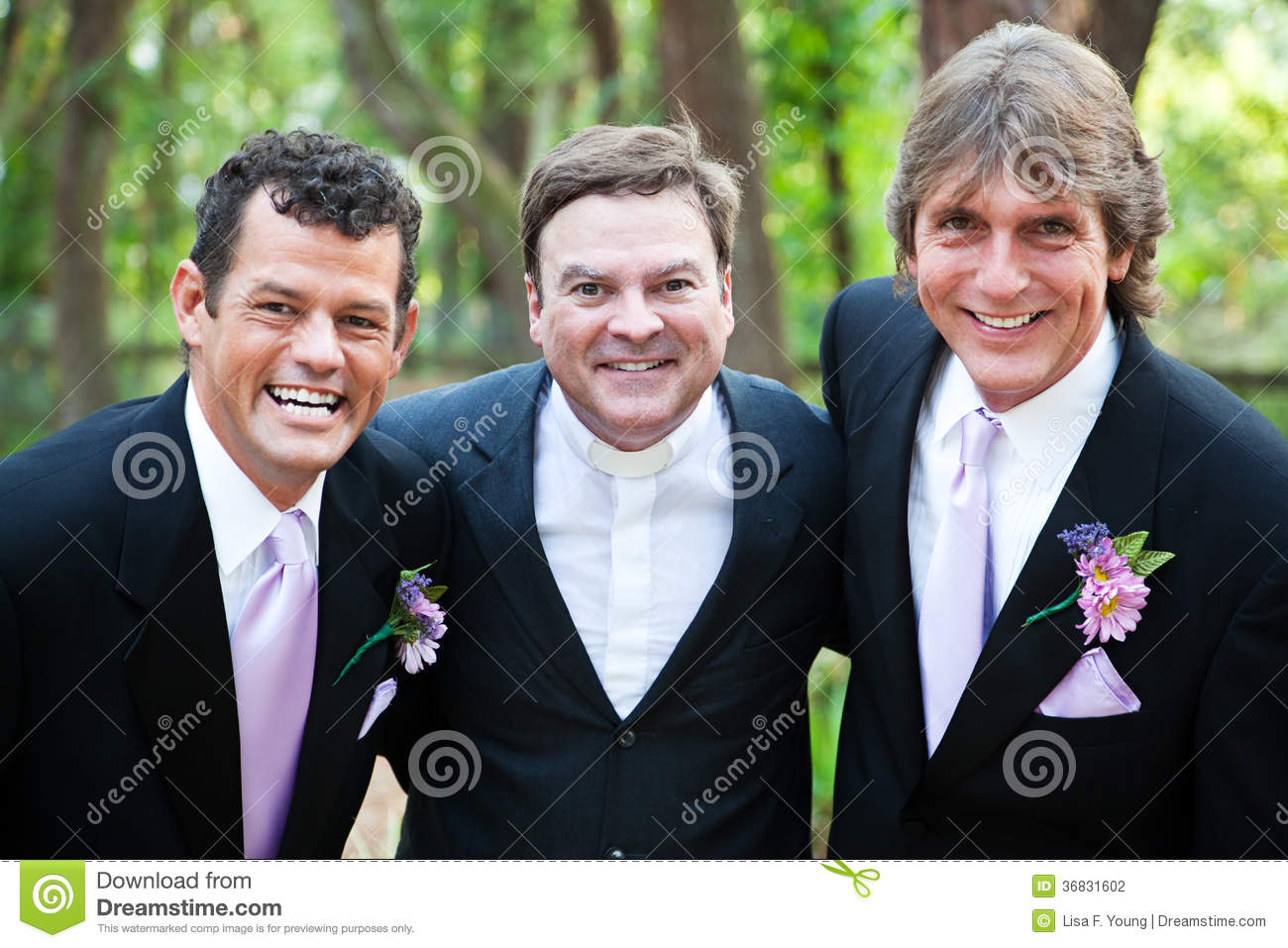 Minister posing with gay wedding couple stock photography image 36831602 - Pose photo mariage ...
