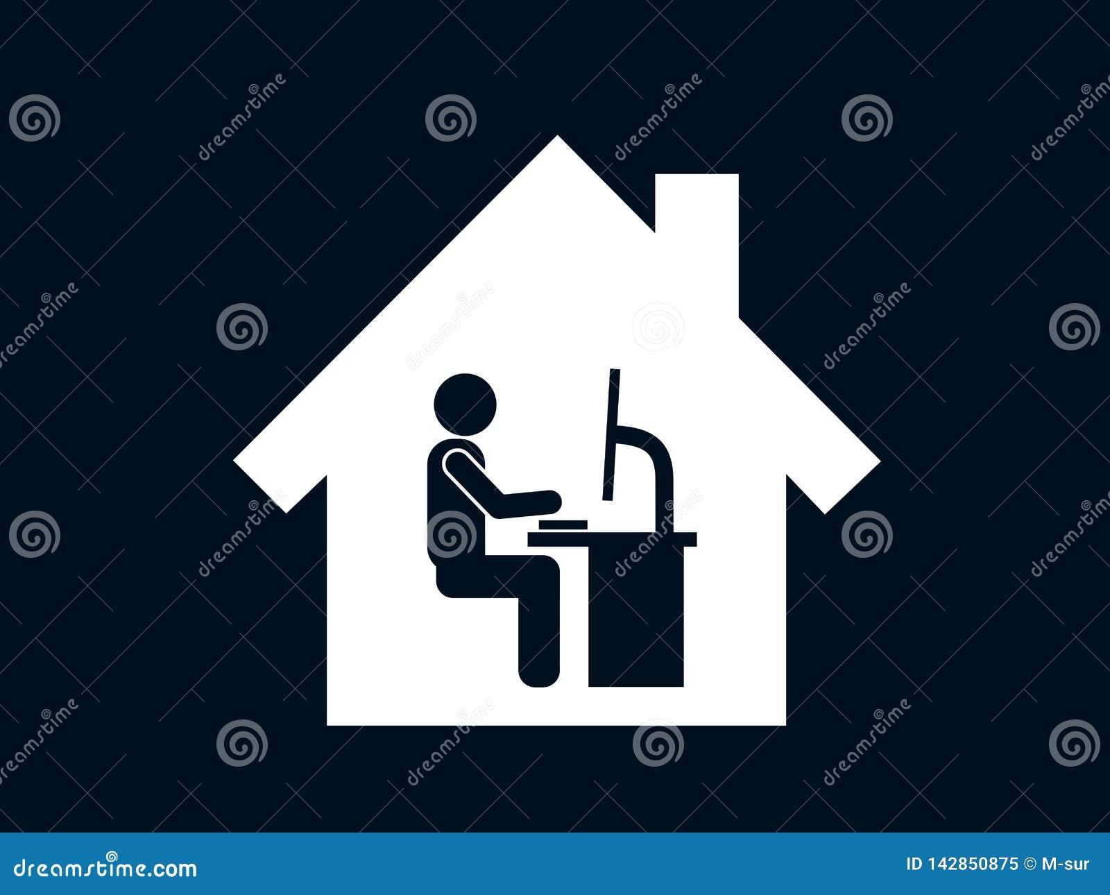 Ministerio del Interior - la persona está trabajando en la PC y de computadora personal en su casa individual