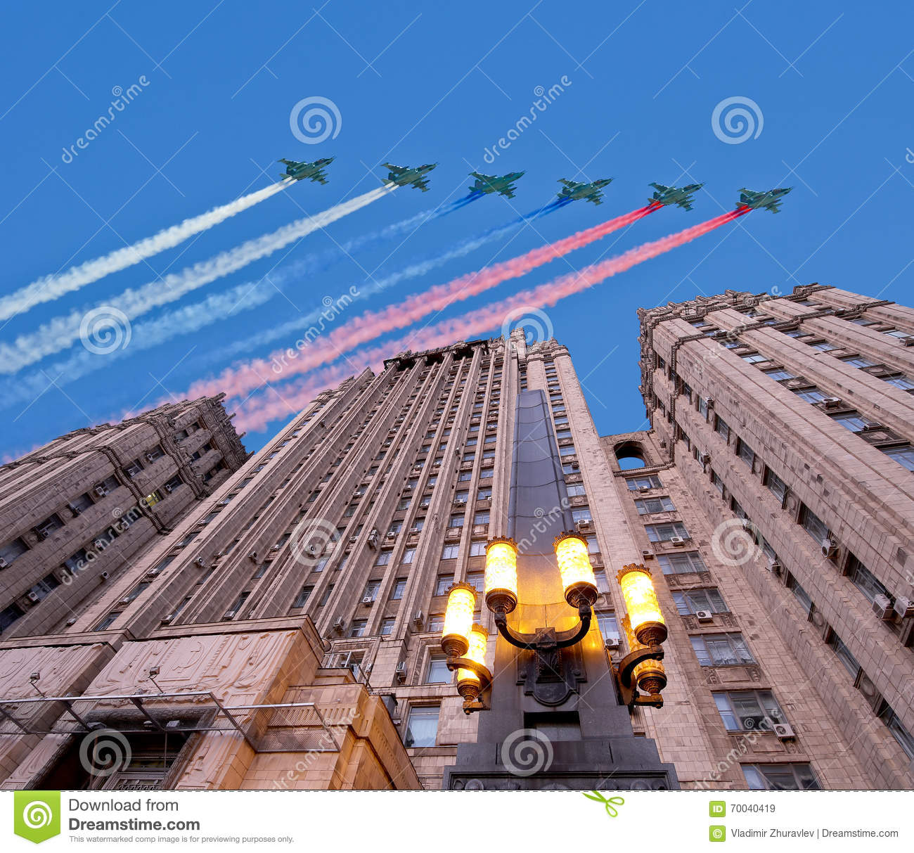 Ministry of Foreign Affairs of the Russian Federation and Russian military aircrafts fly in formation, Moscow, Russia