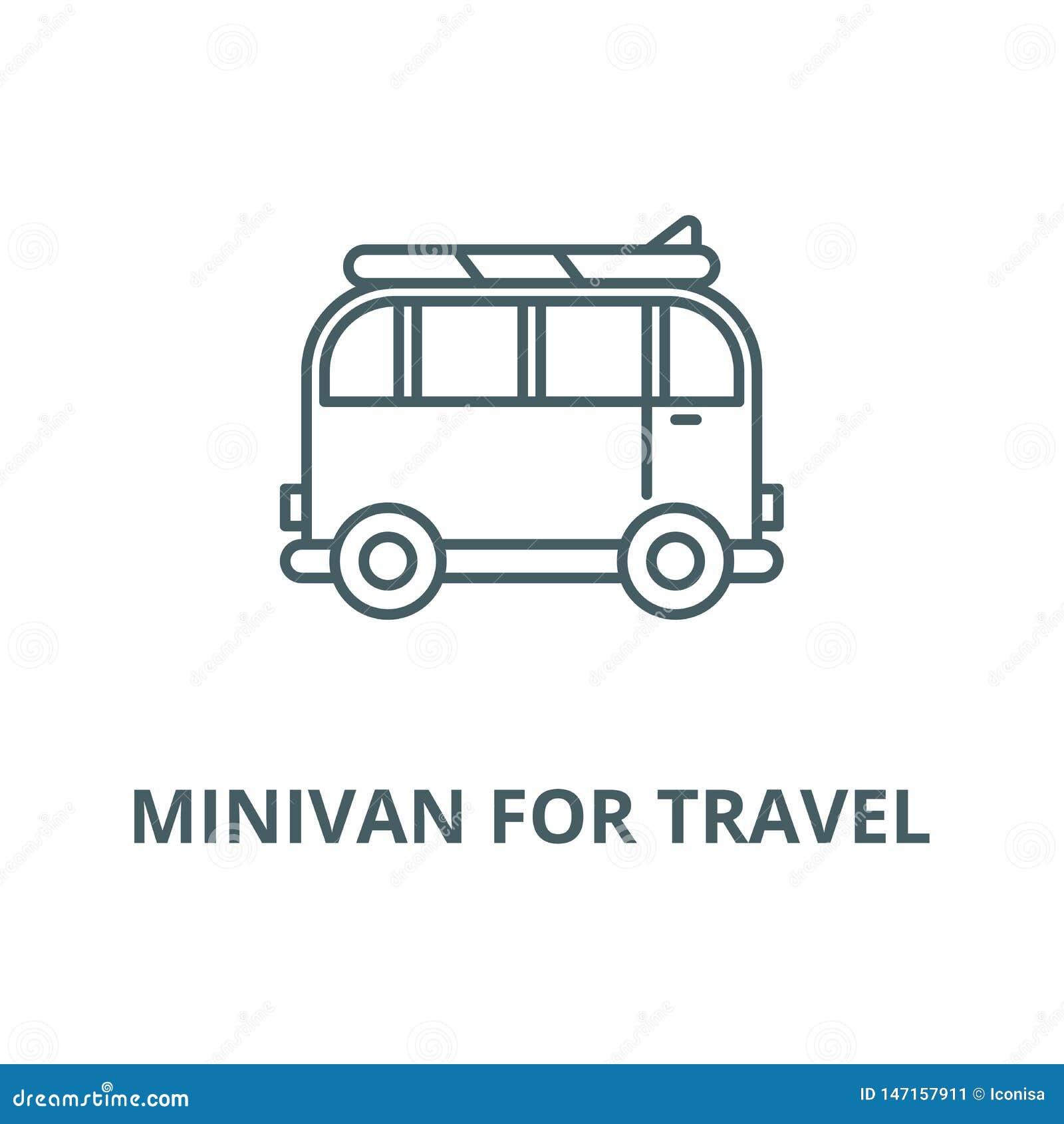 Minivan för loppvektorlinjen symbol, linjärt begrepp, översiktstecken, symbol