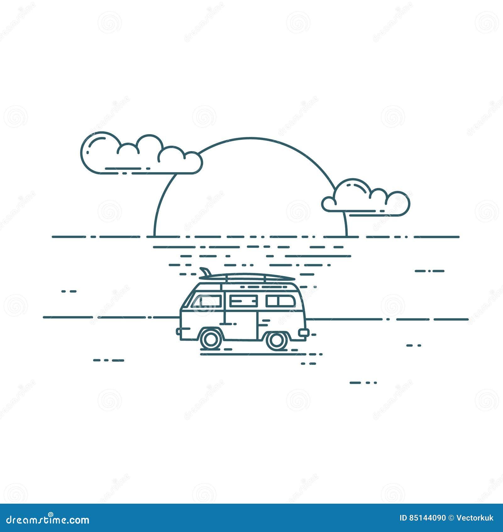 Minivan med solnedgånglandskap