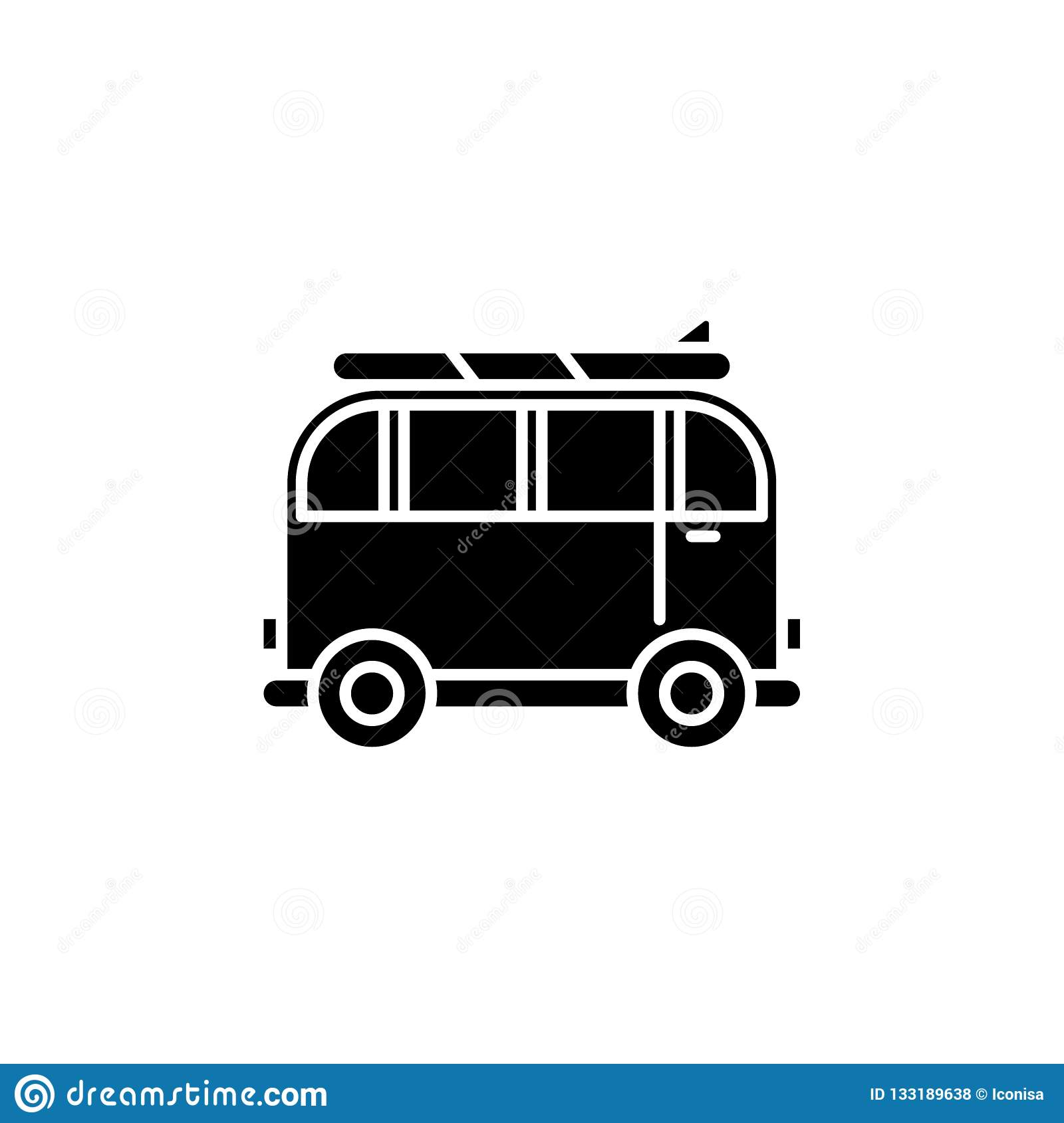 Minivan for travel black icon, vector sign on isolated background. Minivan for travel concept symbol, illustration