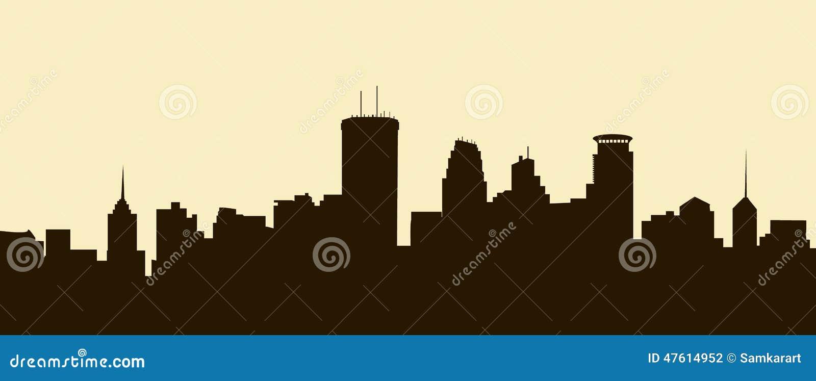 Minneapolis Skyline Vector Stock Vector Image 47614952
