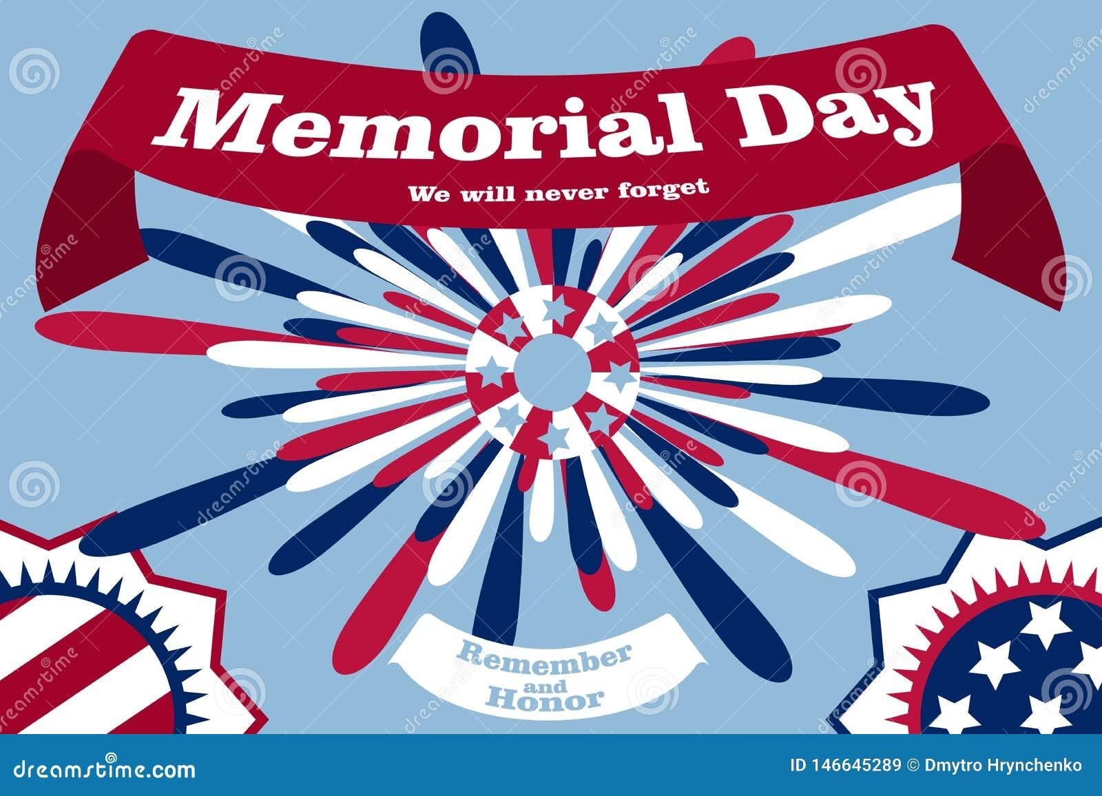 Minnesdagenaffisch Patriotiskt feriebaner med flaggor, fyrverkerier i amerikanska traditionella f?rger Tryck f?r USA nationellt h