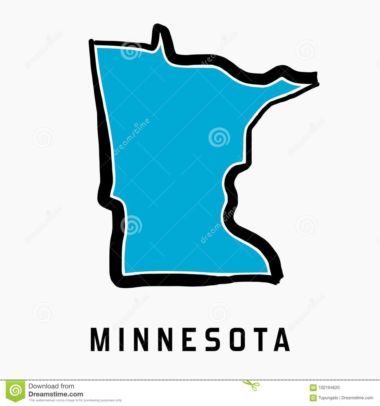 Minnesota Map Outline   Smooth Simplified US State Shape Map Vector.
