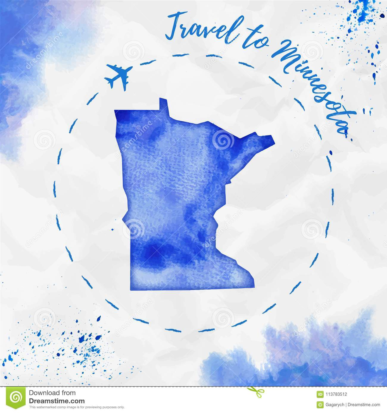 Minnesota Watercolor Us State Map In Blue Colors Stock Vector - Minnesota-in-us-map