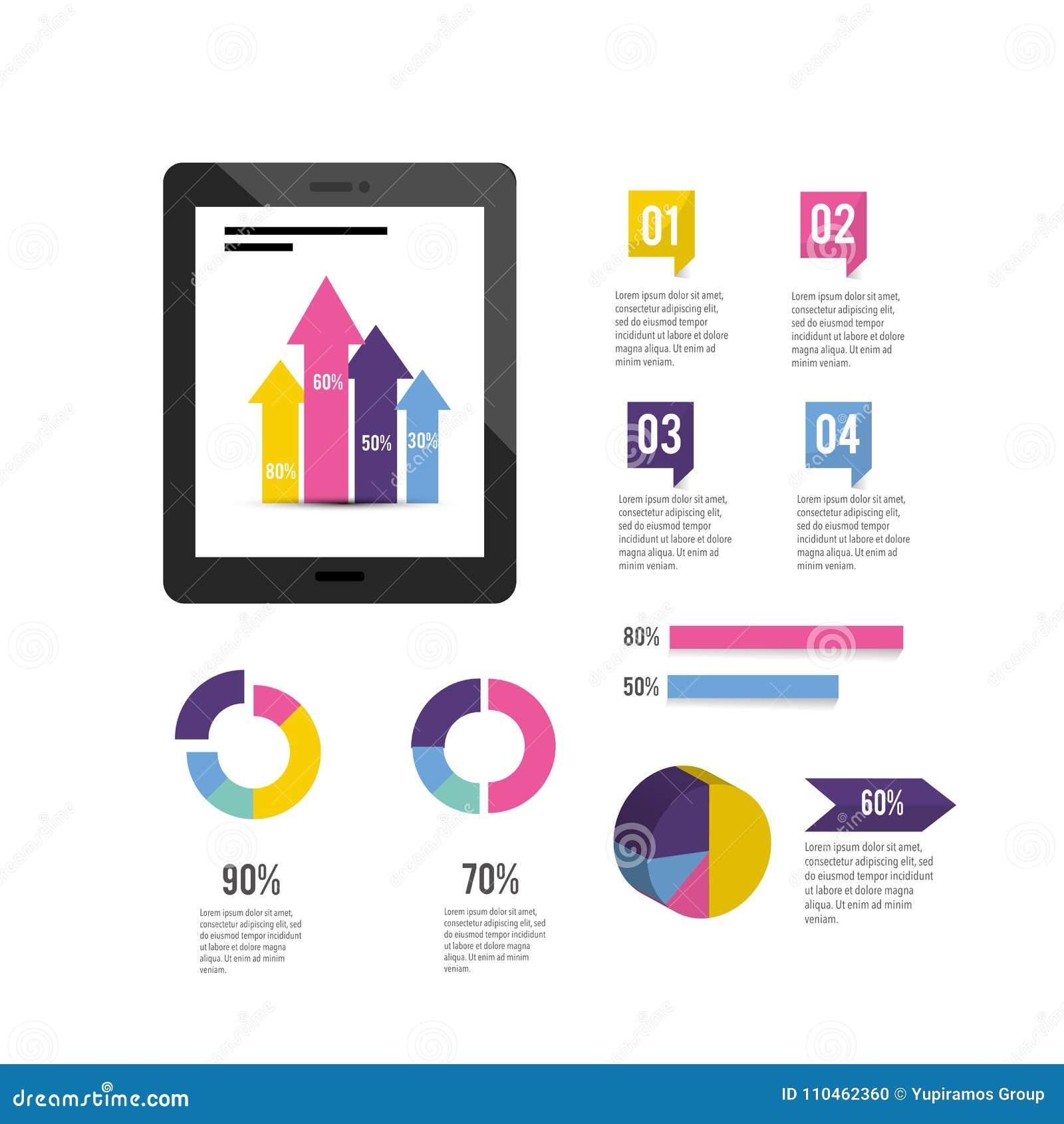 Minnestavlateknologi med det infographic affärsdiagrammet
