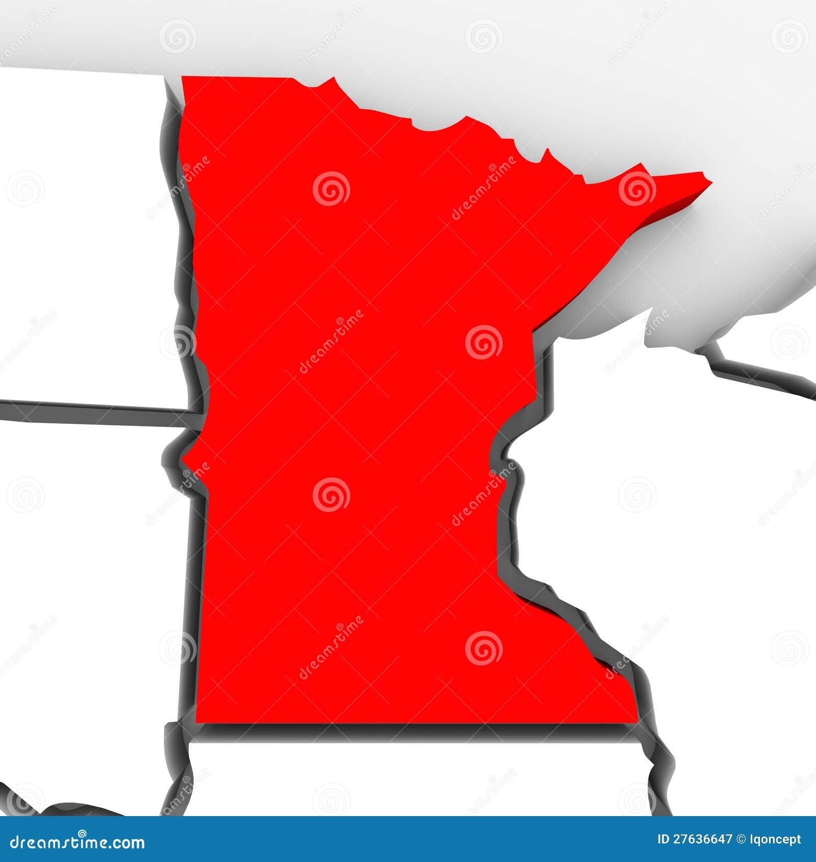 Minnestoa abstrakta 3D stanu Czerwona mapa Stany Zjednoczone Ameryka