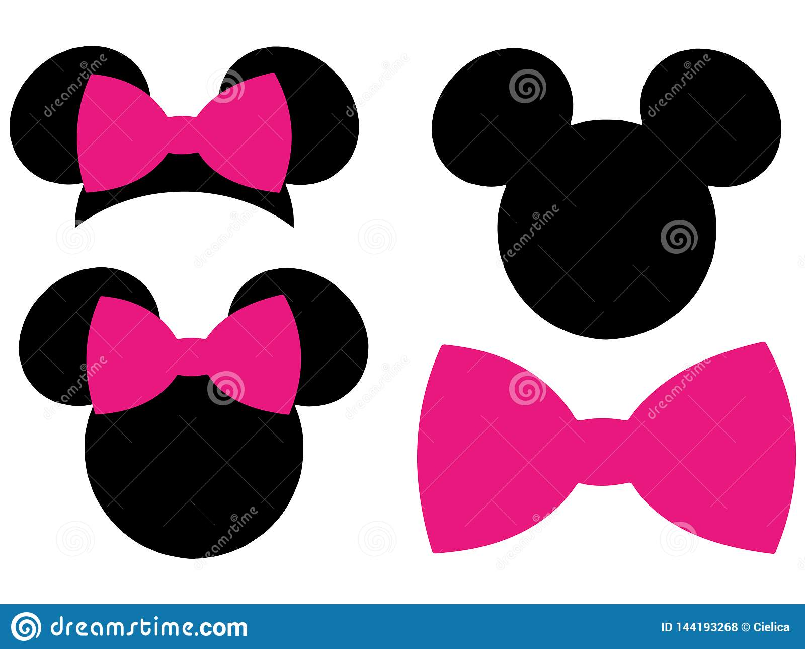 Minnie Mouse Mickey Mouse Head Bow Eps Vector Clipart Cutting Files