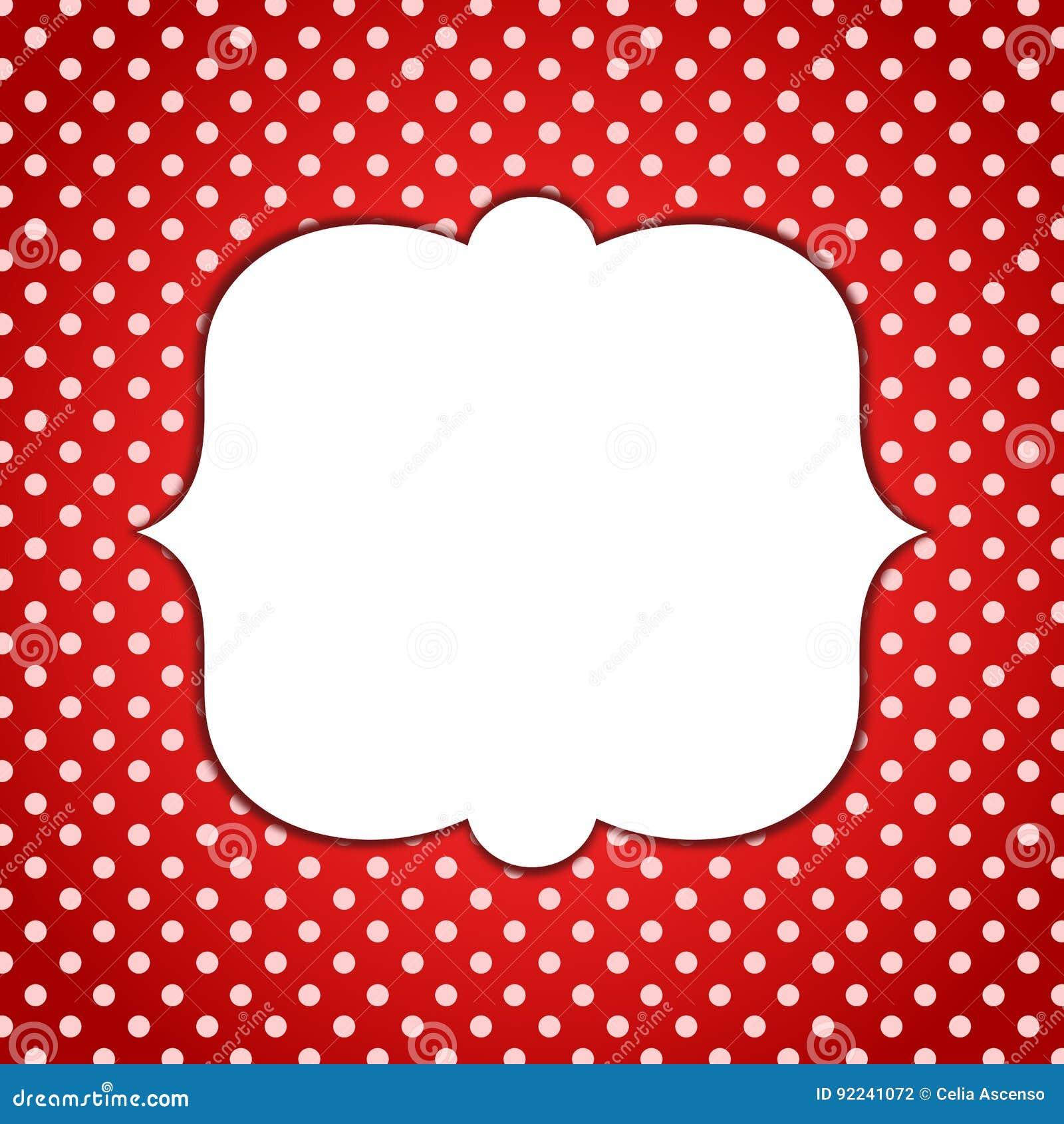 minnie red frame polka dots invitation card stock