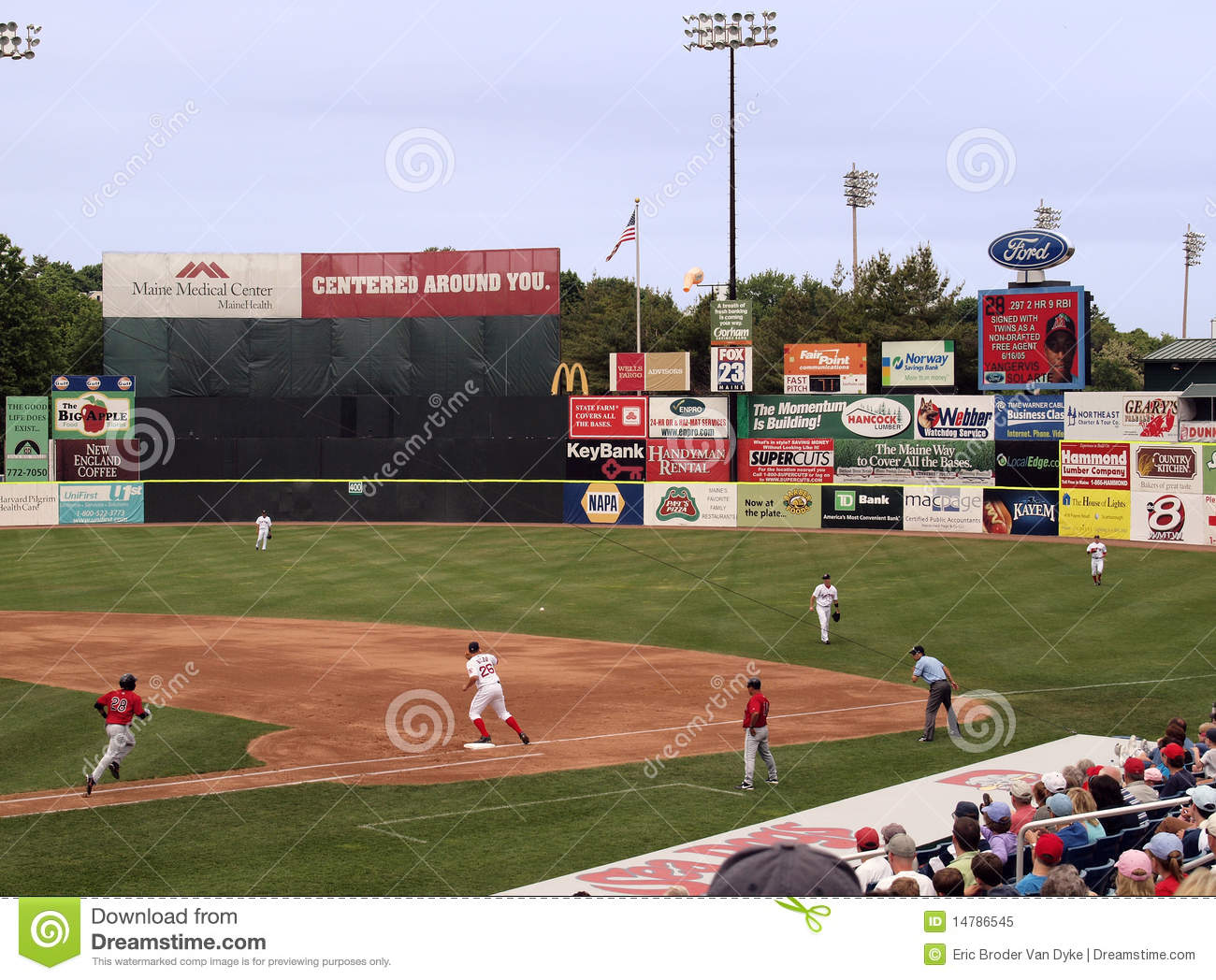 minor league baseball  portland sea dogs editorial image