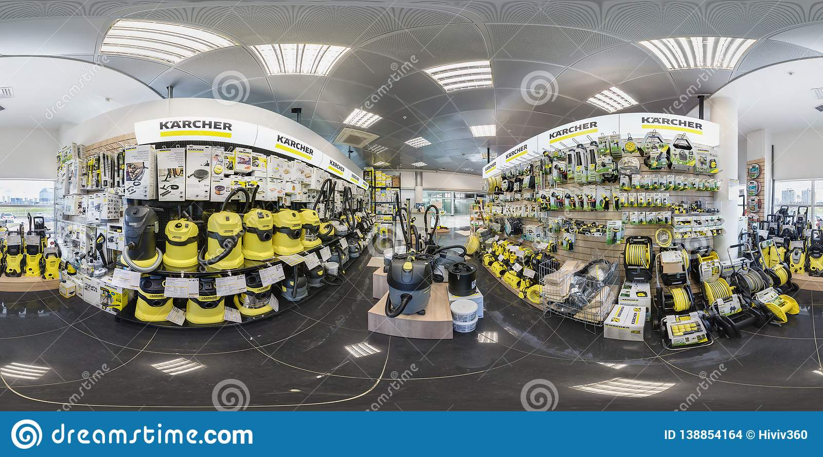 MINSK, BELARUS - APRIL, 2017: full seamless panorama 360 angle degrees view in interior of luxury vacuum cleaner store Karcher and