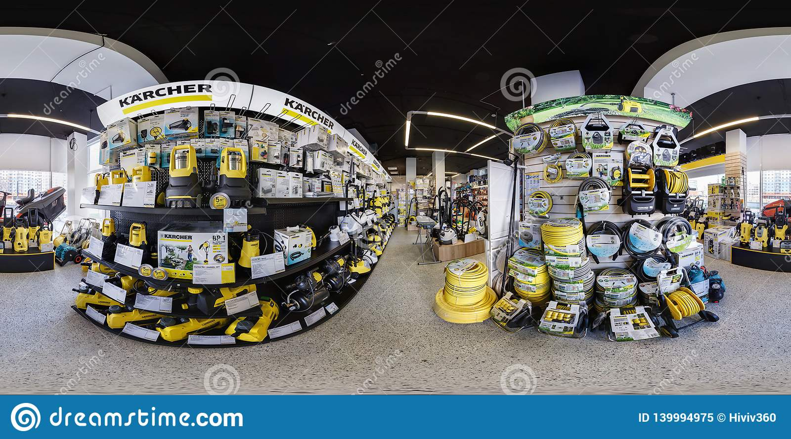 MINSK, BELARUS - APRIL, 2017: full seamless spherical panorama 360 angle degrees view in interior luxury vacuum cleaner store
