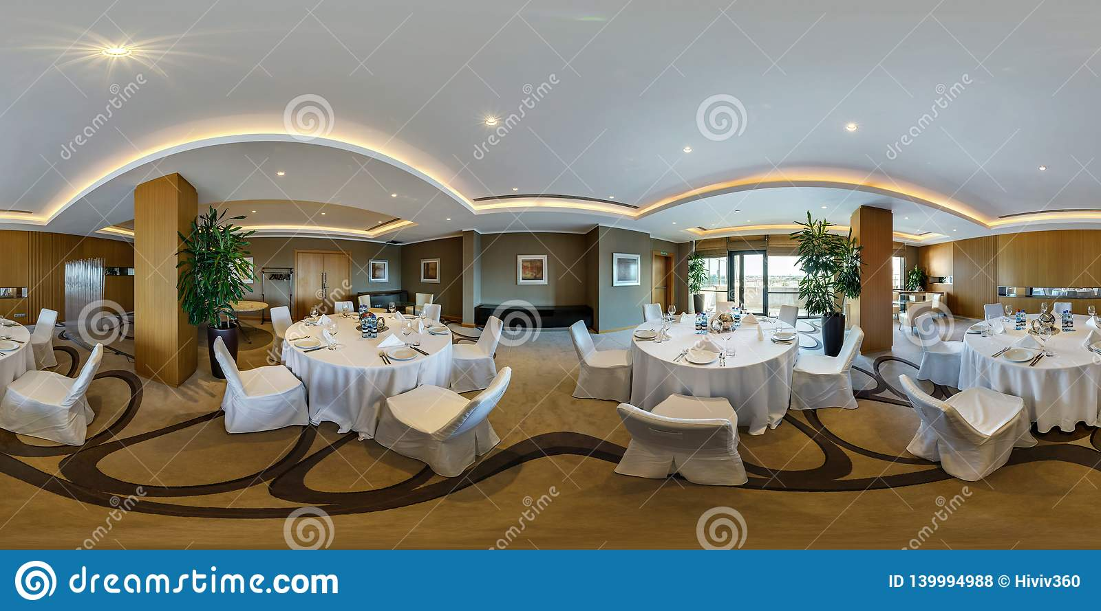 Minsk Belarus August 2017 Full Panorama 360 Angle View Seamless Inside Interior Of Large Banquet Hall In Modern Hotel In Editorial Stock Photo Image Of Chandelier Light 139994988