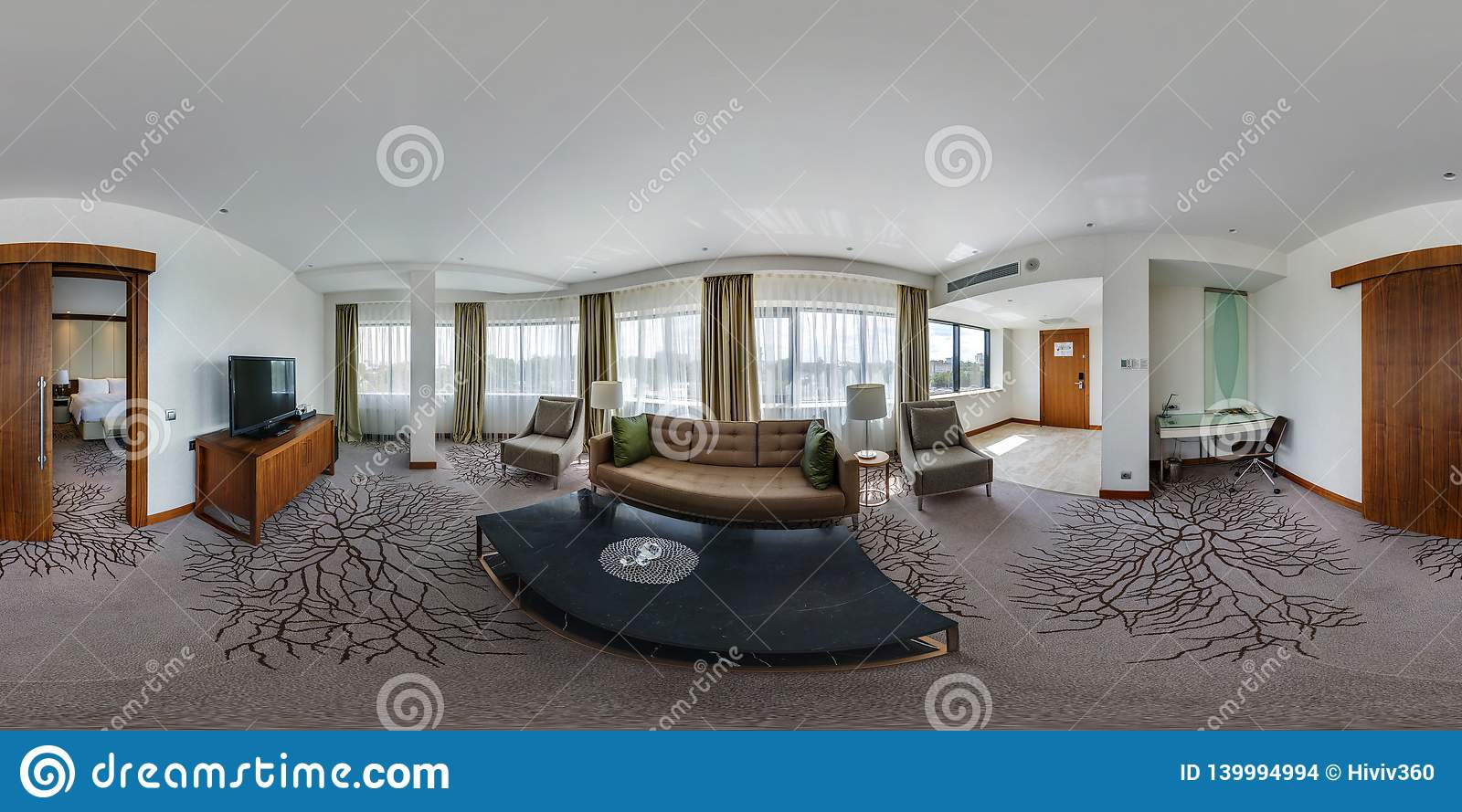 Minsk belarus august 2017 full seamless 360 degrees angle view panorama in interior guestroom hall with furniture in modern hotel in equirectangular