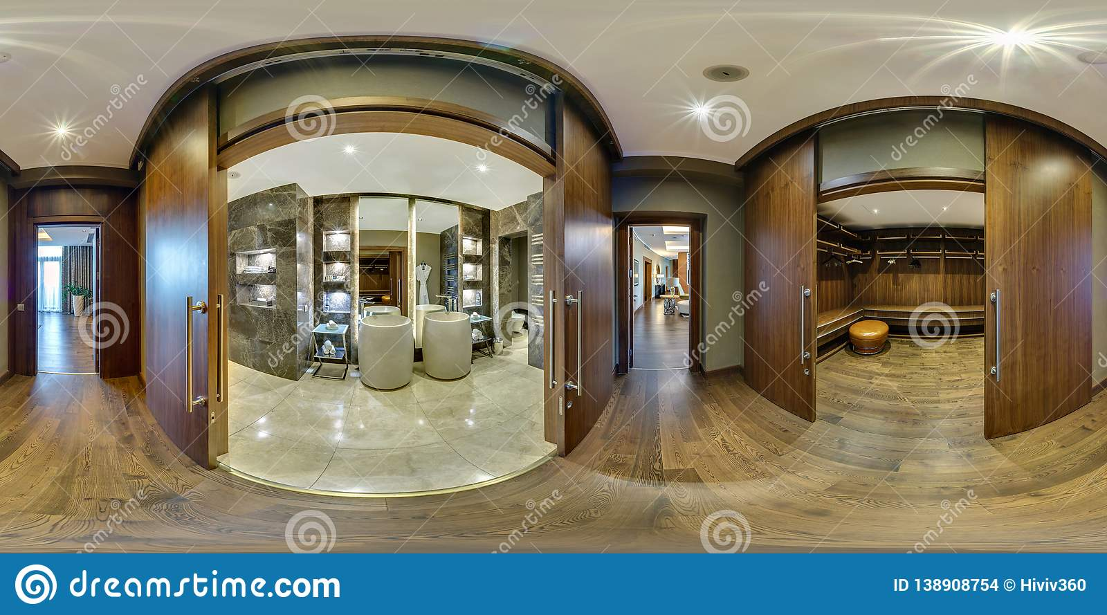 MINSK, BELARUS - AUGUST 2017: full seamless panorama 360 angle view in elite vip bathroom and wardrobe in loft hotel. Spherical