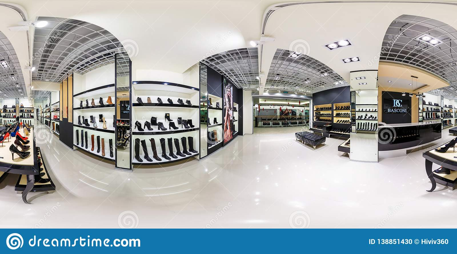 MINSK, BELARUS - DECEMBER 3, 2013: full 360 degree panorama in equirectangular spherical projection in shop of stylish shoes, VR